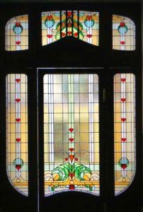 szecessziós ólomüveg télikert ablak