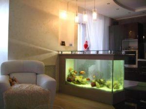 Asztal akvárium a télikertben